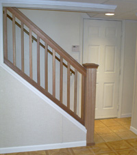 Renovated basement staircase in Parkville
