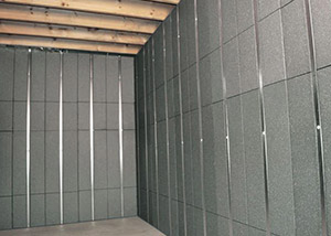 SilverGlo™ insulation and metal studs making up our Basement to Beautiful™ panels.  Installed in Annapolis.