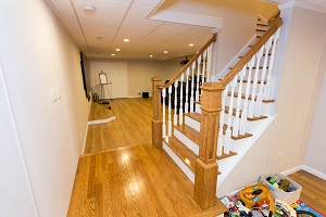 Finishing touches for a remodeled basement in Rockville