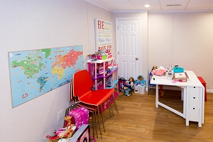 Children's playroom installed in a Silver Spring basement