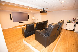 A basement turned into a home theater in Columbia